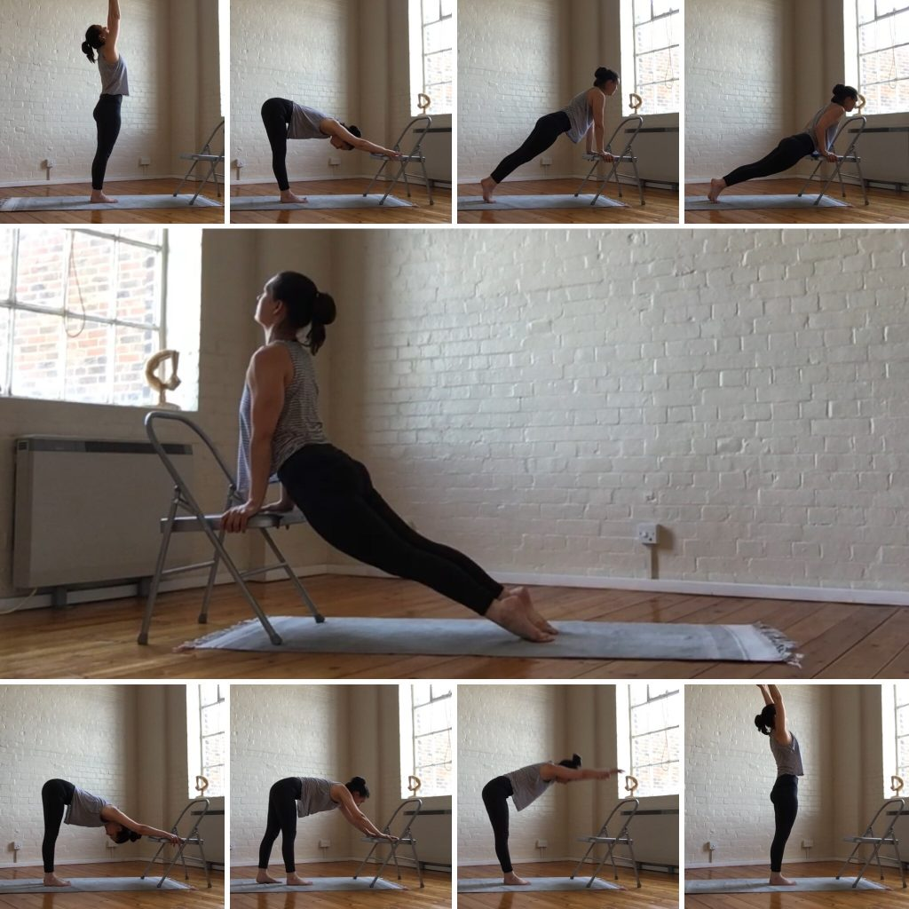 A visual image of the 9 stages of the sun salutation practiced with a yoga chair.